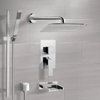 Chrome Tub and Shower System with 14