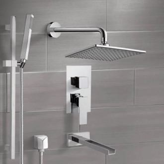 Chrome Tub and Shower System with 8