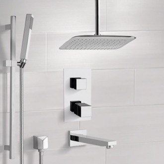 Chrome Thermostatic Tub and Shower System with Ceiling 14