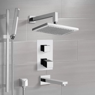 Tub and Shower Faucet Chrome Thermostatic Tub and Shower System with 9.5