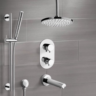 Tub and Shower Faucet Chrome Thermostatic Tub and Shower System with 8