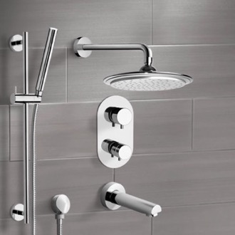 Tub and Shower Faucet Chrome Thermostatic Tub and Shower System with 9