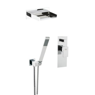 Shower Faucet Shower Set with Waterfall Jet, Duplex Shower, Flexible Hand Shower, and Mixer with Diverter Remer Z09S02US