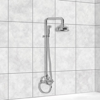 Exposed Pipe Shower Wall Mounted Classic Tub/Shower Faucet With Rainhead And Hand Shower Set Fima S5004/2