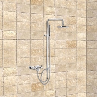 Exposed Pipe Shower Wall Mounted Tub/Shower Faucet With Rainhead And Hand Shower Set Fima S5304/2