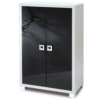 Stylish Glossy White Cabinet with 2 Doors Sarmog 570
