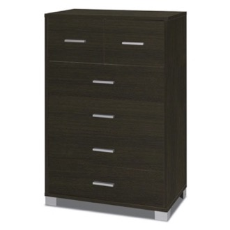 Decorative 6 Drawer Wood Cabinet with Chrome-Plated Feed and Handles Sarmog 772