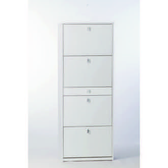 Shoe Rack White Ash Shoe Rack with 4 Double-Depth Folding Doors A569 Sarmog A569-White Ash