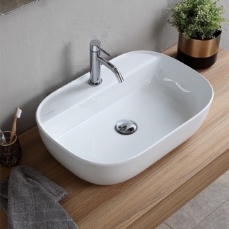 Oval White Ceramic Vessel Sink Scarabeo 1802