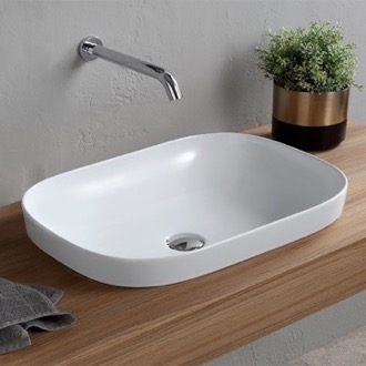 Oval White Ceramic Drop In Sink Scarabeo 1805