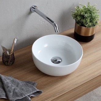 bathroom sink small round ceramic vessel sink scarabeo 1808 - Small Bathroom Sinks