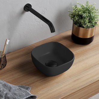 Small Matte Black Vessel Sink in Ceramic Scarabeo 1809-49