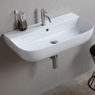 Modern White Ceramic Wall Mounted or Vessel Sink Scarabeo 1812