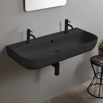 Matte Black Ceramic Trough Wall Mounted or Vessel Sink Scarabeo 1813B-49