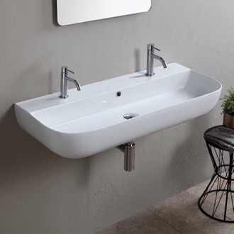 Modern White Ceramic Wall Mounted or Vessel Sink Scarabeo 1813B