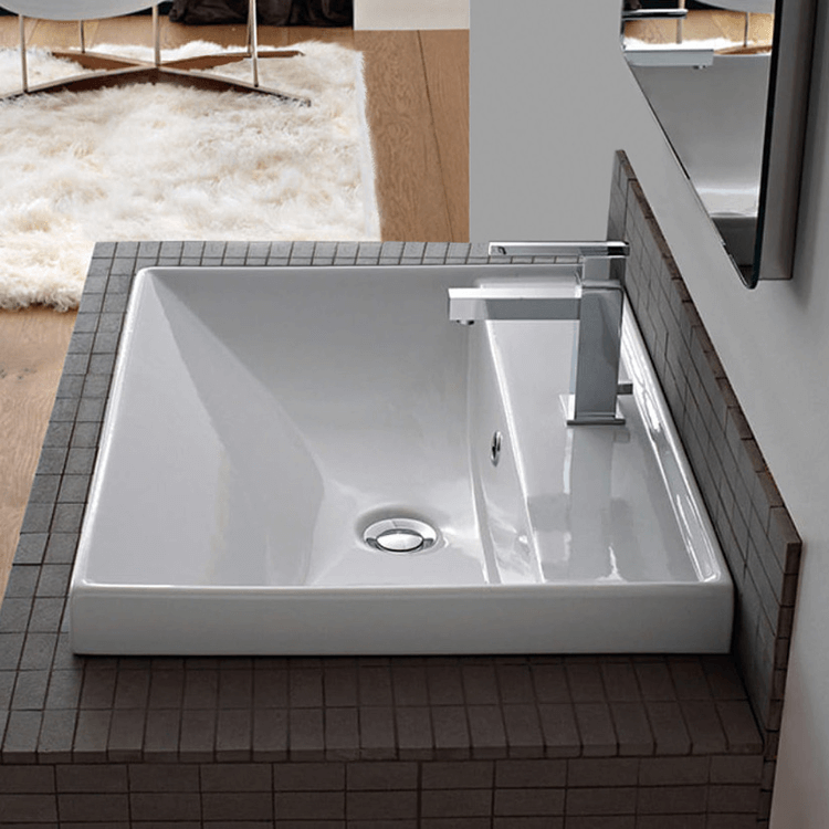 Bathroom Sink Square White Ceramic Self Rimming or Wall Mounted Bathroom Sink Scarabeo 3004