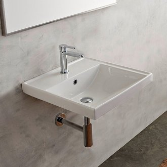 Rectangular White Ceramic Wall Mounted or Drop In Bathroom Sink Scarabeo 3004
