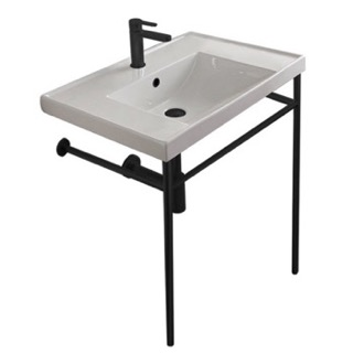 Rectangular Ceramic Console Sink and Matte Black Stand Scarabeo 3005-CON-BLK