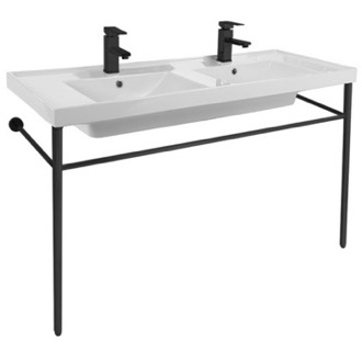 Double Ceramic Console Sink and Matte Black Stand Scarabeo 3006-CON-BLK
