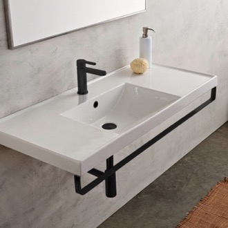 Rectangular Wall Mounted Ceramic Sink With Matte Black Towel Bar Scarabeo 3007-TB-BLK