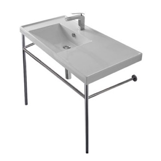 Rectangular Ceramic Console Sink and Polished Chrome Stand Scarabeo 3008-CON