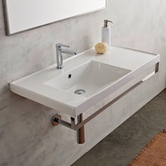 Rectangular Wall Mounted Ceramic Sink With Polished Chrome Towel Bar Scarabeo 3008-TB