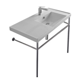 Rectangular Ceramic Console Sink and Polished Chrome Stand Scarabeo 3009-CON