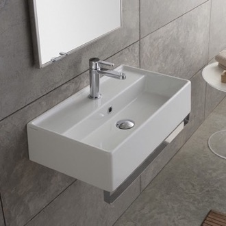 Bathroom Sink Rectangular Wall Mounted Ceramic Sink With Polished Chrome Towel Bar Scarabeo 5003-TB