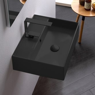 Rectangular Matte Black Ceramic Wall Mounted or Vessel Sink Scarabeo 5111-49