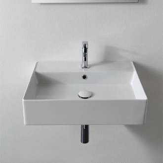 Bathroom Sink Rectangular White Ceramic Wall Mounted or Vessel Sink Scarabeo 5111