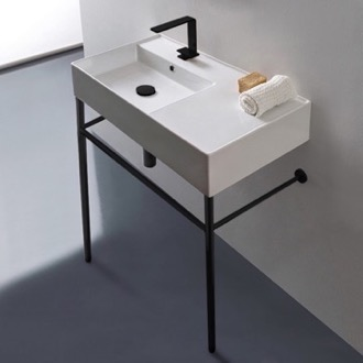 Ceramic Console Sink and Matte Black Stand Scarabeo 5115-CON-BLK