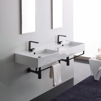 Double Ceramic Wall Mounted Sink With Matte Black Towel Holder Scarabeo 5116-TB-BLK