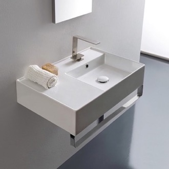 Rectangular Ceramic Wall Mounted Sink With Counter Space, Towel Bar Included Scarabeo 5117-TB
