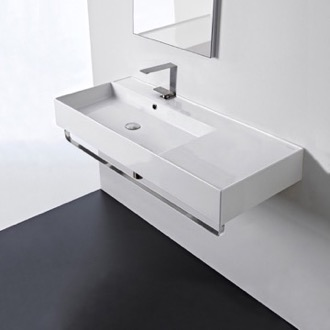Rectangular Ceramic Wall Mounted Sink With Counter Space, Towel Bar Included Scarabeo 5119-TB