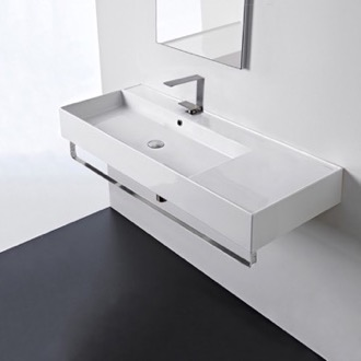 Rectangular Ceramic Wall Mounted Sink With Counter Space, Towel Bar Included Scarabeo 5121-TB