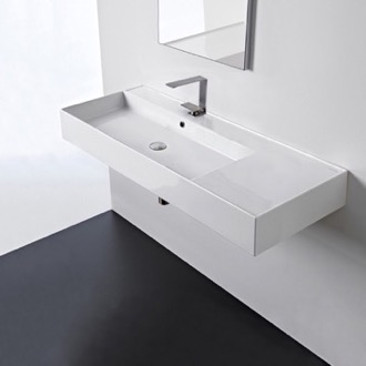 Rectangular Ceramic Wall Mounted or Vessel Sink With Counter Space Scarabeo 5121