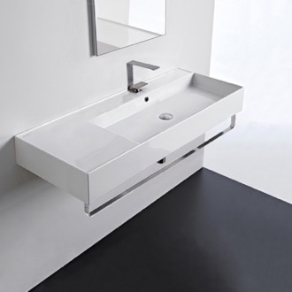 Rectangular Ceramic Wall Mounted Sink With Counter Space, Towel Bar Included Scarabeo 5122-TB