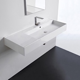Rectangular Ceramic Wall Mounted or Vessel Sink With Counter Space Scarabeo 5122
