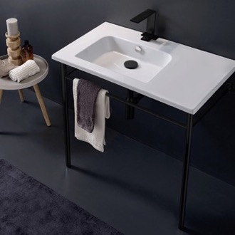 Ceramic Console Sink and Matte Black Stand Scarabeo 5211-CON-BLK