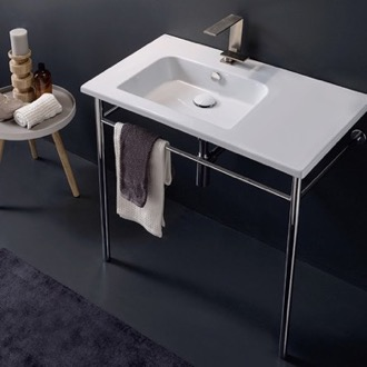 Rectangular Ceramic Console Sink and Polished Chrome Stand Scarabeo 5211-CON
