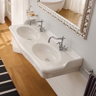 Traditional Double Basin Ceramic Wall Mounted or Vessel Sink Scarabeo 5303