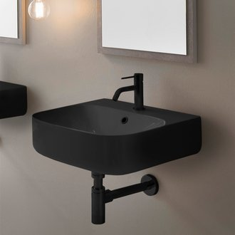 Round Matte Black Ceramic Wall Mount Sink Scarabeo 5507-49
