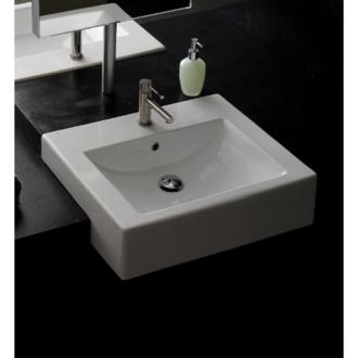 Bathroom Sink 20 Inch Square Ceramic Semi Recessed Sink Scarabeo 8025/D