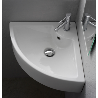 Square White Ceramic Wall Mounted or Vessel Corner Sink Scarabeo 8007/E