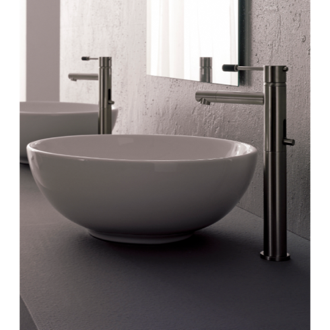Bathroom Sink Round White Ceramic Vessel Sink 8009 Scarabeo 8009