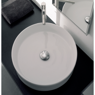 Round White Ceramic Vessel Sink Scarabeo 8029