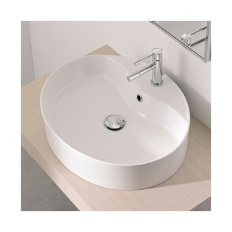 Oval-Shaped White Ceramic Vessel Sink Scarabeo 8030/R