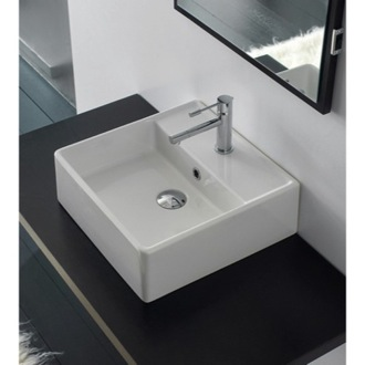 Bathroom Sink Square White Ceramic Wall Mounted or Vessel Sink 8031/R-40 Scarabeo 8031/R-40
