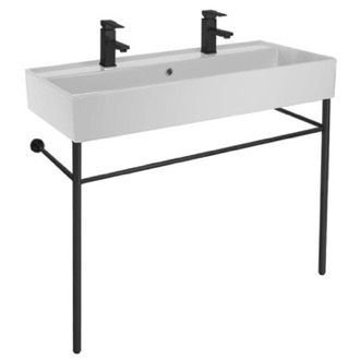 Double Ceramic Console Sink and Matte Black Stand Scarabeo 8031/R-100B-CON-BLK