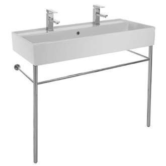 Large Double Ceramic Console Sink and Polished Chrome Stand Scarabeo 8031/R-100B-CON